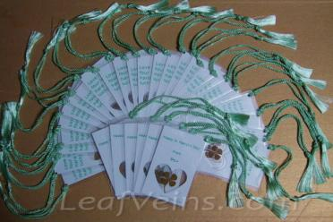 Custom four leaf clover bookmarks made for a customer