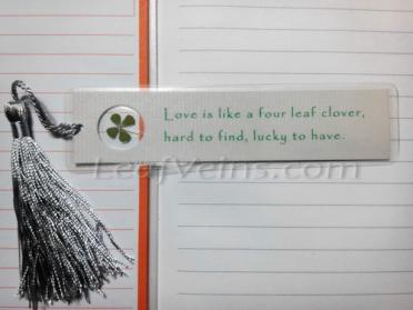 Lucky Bookmark with green four leaf clover