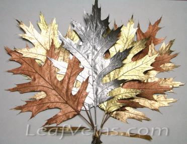 Dried Oak Leaves Metallic Colored